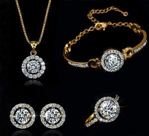 Fashion 18k Gold Silver Plateado Collar de cristal austriaco Pendientes de anillo Juego de joyas para mujeres Juego de joyería de aniversario para mujer