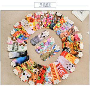 New Fashion 3D Printed Socks Women Cute Low Cut Ankle Socks Multiple Colors Cotton Blend Sock Women's Casual Charactor Socks