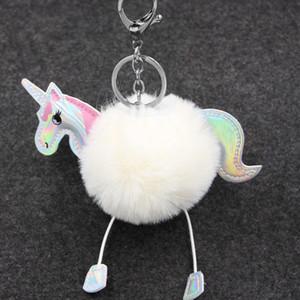 Unicorn Pony Anahtarlık Güzel Kabarık kolye Yapay Tavşan Kürk Anahtarlık Çanta Araba Anahtarlık asın Çanta Aksesuar Noel Hediyesi