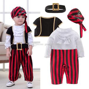 Bebek boys Korsan Kaptan Rompers setleri çocuklar Cadılar Bayramı cosplay Tulumlar pamuk bebek Tırmanma giysileri C2797