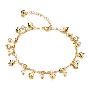 Bracelet de cheville breloque coeur en or jaune 18 k plaqué or zircon cubique Bracelet de chaîne en cristal de pied sandale plage femme bijoux, réglable