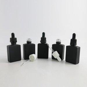 Tamper Açık Damlalıklı 12 x 30ml Frost Siyah Düz Kare Cam Şişeler 1oz Siyah Sıvı Cam Damlalıklı Damlalar Konteynerler Şişeler