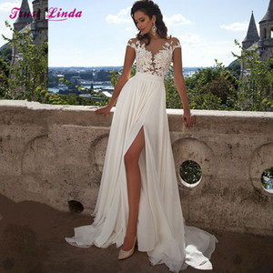 Sexy Chiffon Lace Appliques A-line Wedding Dresses Plus Size Bridal Wedding Gowns Country Western Beach Wedding Dress robe de mariage