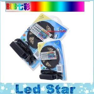 RGB LED Şeritler Kiti Işıklar 5050 12 V Esnek LED Halat Işıklar Su Geçirmez IP65 + 44 tuşları Denetleyici + 12 V 5A güç kaynağı