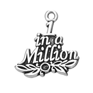 Free shipping 22.5*23.5mm Antique Silver Plated Word One in a Million Charm DIY Jewelry 10pcs lot jewelry making