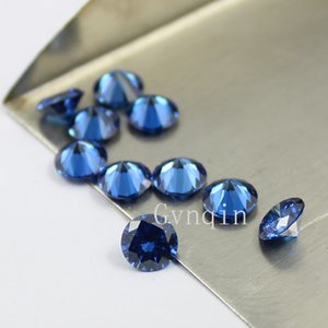 50pcs / lot frete grátis 8,5 milímetros-10 milímetros cúbicos zircônia azul CZ Máquina de gemas sintéticas Preços por Atacado