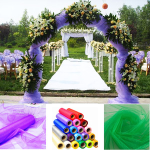 Haochu 20 M / Lote 1.5 M Ancho Decoración de la boda Telas de organza Sheer Crystal Organza Fabric Home Party Decor Fondo de compromiso