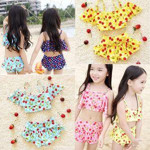 2016 أزياء الأطفال بيكيني المايوه الفتيات لطيف الكرز مطبوعة بيكيني ملابس السباحة قطعتين مجموعات أطفال شاطئ السباحة سبا