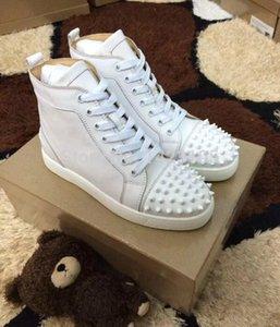 최신 유행 신사 숙녀 패션 레드 맨 신발 리벳 흰색 상위 양털 캐주얼 신발 무료 배송