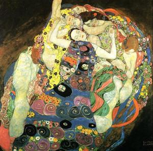 Gustav Klimt-Maiden Genç kız portreler, Ücretsiz Nakliye, Saf El-boyalı Rakam Sanat yağlıboya herhangi bir boyutta Tuval Üzerine