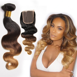 Malaysische Haarkörperwelle Ombre 3 Bundles Mit Verschluss 1B 4 27 # Honigblonde Bundles Wet And Wavy Weave With Closure