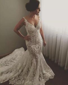 2020 Vestidos V novo e luxuoso Plus Size Mermaid Wedding Neck Illusion Lace apliques mangas Backless Catedral Trem vestidos de noiva formais