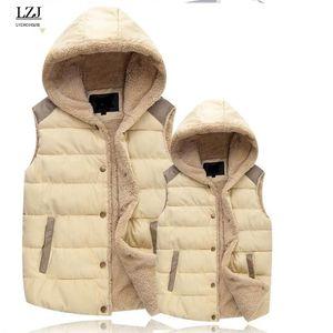 LZJ New Vest Cardigan donna Giacca inverno caldo donna Cappotti Giubbotti con cappuccio Cappotto donna Gilet Colete Feminino De Inverno