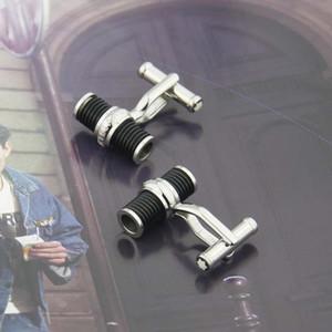 Gemelos de acero inoxidable de alta calidad con forma de tornillo blanco / blacke piedra de ágata gemelos para hombres no tienen caja