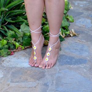Sandalia descalza de ganchillo, DAISY joyería del pie, bodas, tobillera, anillo del dedo del pie, gitana, yoga, tanga ,, nupcial, playa, verano, sandalias de encaje