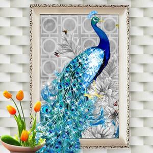 5D Stickerei DIY Diamant Pfau Malerei Mosaik Handarbeiten Bild Home Decor Gemälde