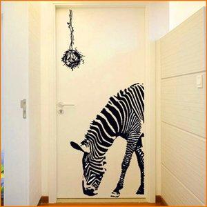 Cebra negra Pegatinas de pared de bricolaje Cartel de la pared Palo de la pared Arte abstracto Decoración Pegatinas de animales Decoración del hogar (Tamaño 60 * 90 cm)
