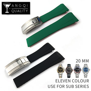 Aço inoxidável impermeável borracha pulseira Buckle Assista bracelete Band para Oysterflex SUB pulseira relógio Man 20 milímetros Azul Verde + TOOL