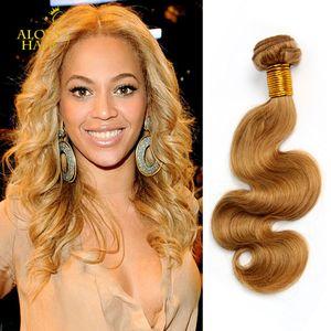 Honey Blonde 27# Brazilian Virgin Human Hair Weave Bundles Peruvian Malaysian Indian Eurasian Russian Body Wave Hair Extensions Double Wefts