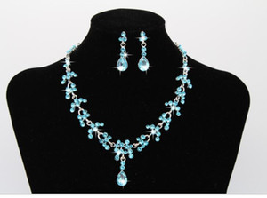 Luxury Bridal Jewelry Set Rhinestone Crystal Water Drop Earring Necklace sets for Women Wedding Jewelery Bridal Accessories
