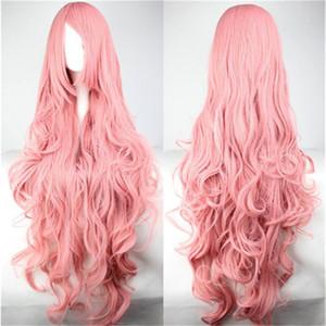 perruques de cheveux des femmes harajuku ombre pastel long rose ondulé perruque frisée frange oblique 100cm perruque cosplay perruques synthétiques résistant à la chaleur
