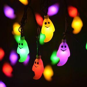 Высокое качество Хэллоуин солнечный 20 огни и 30 огни призрак свет строка партии двор декоративные огни строки фонарь строка мульти