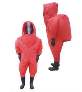 Turuncu Ağır Tip Tamamen Kapalı Kimyasal Koruyucu Takım Elbise