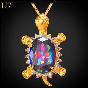 Nueva nueva tortuga linda colgante de animales 18k real chapado en oro al por mayor de cristal de cristal tortuga colgante para mujeres Joyería afortunada P792