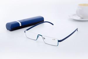 Tube demi-monture lunettes de lecture pour femme avec étui pas cher lunettes incassables lecture grossissement léger TR90 force 1,00 à 4,00