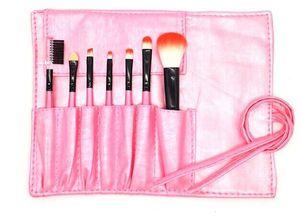 Pinceles de maquillaje Sets Mango de madera Multi-Functional Black Brushes Kits Herramientas de maquillaje con Black PU Bag 7PCS / set Precio de descuento DHL libre