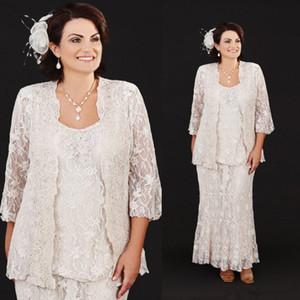 Ann balon vintage dantel çay boyu anne gelin elbiseler mütevazı artı boyutu üç parça anneler damat elbise anne gelinlikler