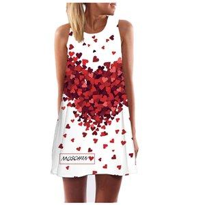 Wholesale-J&W European Style Love Printing Women's Beach Dress Fashion Round Collar Women Bohemian Dress 28