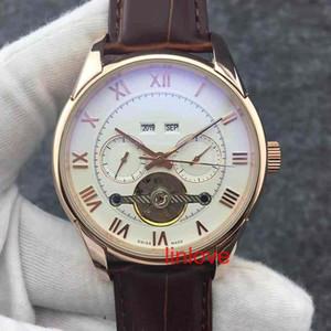 Moda Tourbillon Automatic relógio mecânico de aço inoxidável Mens Leather Strap Negócios de Luxo Marca Relógio de pulso relógios vestido Casual