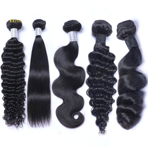 Brésilien péruvien malaisien indien vierge faisceaux de tissage de cheveux humains vague de corps droite lâche vague profonde crépus bouclés cheveux remy couleur naturelle