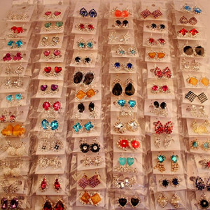 Fashion Top Quality New 100 Styles Diamond Earrings Pearl Earrings Buckle Jewelry For Women Wedding Earrings Stud Mixed Pair