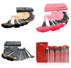 24 UNIDS Sistema de Cepillo de Maquillaje kit de cepillo de baño de Toiletry Set Tool + Roll Up Case Cosmético de la marca con el logotipo de DHL ship