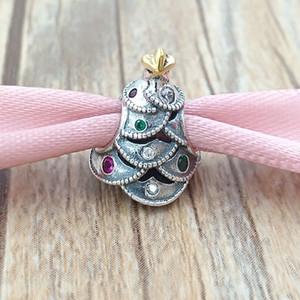 Gold Christmas Placcato argento 925 perline argento festiva Albero fascino Adatto monili dei braccialetti europeo di stile Pandora Collana 791999CZRMX
