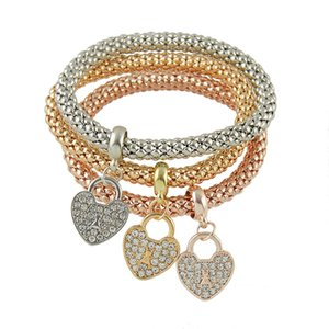 017 new!Elastic Corn Chain with Diamond Heart Pendant Top Quality Bracelets & Bangles Three Color Jewelry Set for Women
