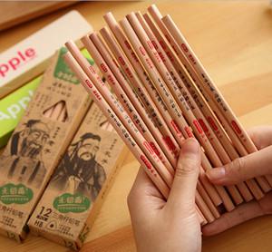Commercio all'ingrosso Migliore Vendita di trasporto libero 120 PZ / LOT Nero Laozi Confucius guoxue classico HB Log matite per bambini non tossici 012