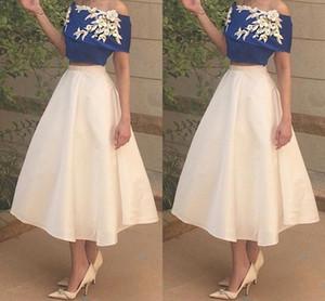 2017 Moda Iki Parçalı Kısa Gelinlik Modelleri Kapalı Omuz Elastik Saten Kraliyet Mavi Beyaz Ayak Bileği Uzunluk Parti Elbiseler Ucuz Arapça Abiye giyim