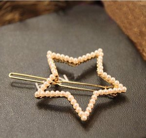 Fashion All-match Gold Plated Hair Jewelry Women Imitation Pearl Crown Bowknot Star Barrettes hair clips