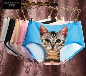 200pcs Ladies Underwear Cute 3D Cat Panties Sexy Mid Waist Underwear Comfort Briefs Animal Panties For Women Nylon Panties Gifts D711
