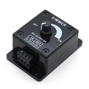 Черный светодиод Dimmer Switch DC 12V 24V 8A Регулируемая яркость Лампа Лампа драйвер Водитель Одноцветный свет контроллер питания