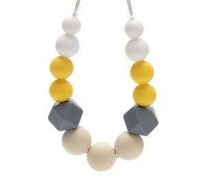 Tétines coloré géométrique silicone Teething Collier de perles de qualité alimentaire Chew Soins infirmiers Collier sensorielle pour bébé Croquer Bijoux