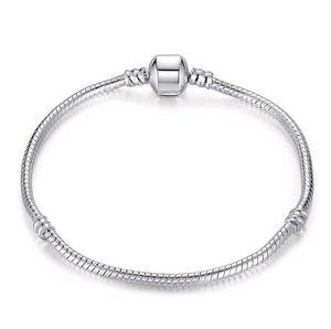 925 pulseira de cadeia de cobra de prata esterlina para fecho europeu charme bead pulseira pulseiras tamanho tamanho 17cm-21cm atacado