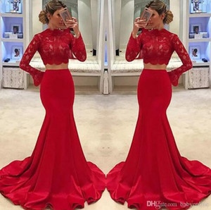 Fabulous Red Two Pieces Prom Kleider 2018 Mermaid Lace Günstige Abendkleider High Neck Long Sleeves Robe de soriee