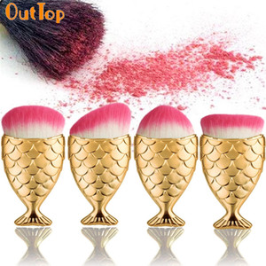 Outtop Color Women 4pcs Gold Mermaid Brush Cosmetici Powder Foundation Contour Brushes 170321 Drop Shipping