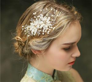 Designer Mode Frauen Party Prom Hochzeit Braut Gold Kristall Strass Perle Perlen Kamm Haarschmuck Kopfschmuck Schmuck Krone Tiara