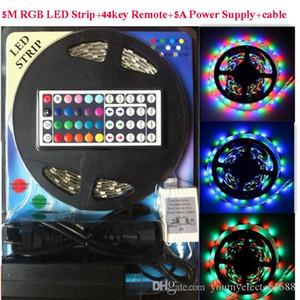 DHL ha condotto la luce di striscia principale RGB 5M 5050 SMD 300Led impermeabile IP65 + 44Key Controller + 5A Alimentazione elettrica con scatola Pacchetto vendita al dettaglio Regali di Natale