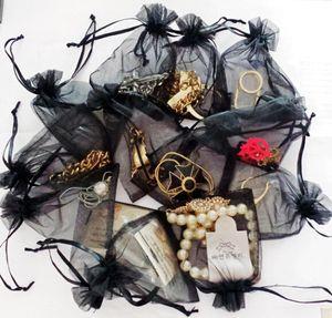 Colore nero Organza Bags regalo di nozze sacchetto involucro sacchetta sacchetti di caramelle gioielli dei sacchetti dei sacchetti del pacchetto